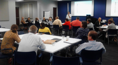 Participants discuss sustainability related needs of employers at the May 10, 2013 VIRTUES Manufacturers Workshop, Gulfstream Aerospace Corporation, Savannah, GA.