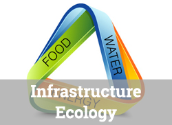 "Food/Water/Ecology Nexus Graphic with text overlay, ""Infrastructure Ecology."""