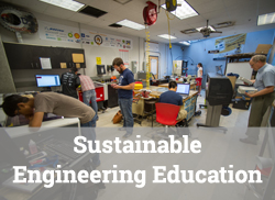"Engineering lab scene with text overlay, ""Sustainable Engineering Education."""