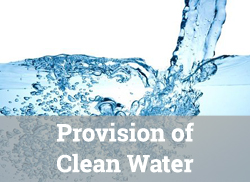 "Clear, blue water being poured, with text overlay, ""Provision of Clean Water."""